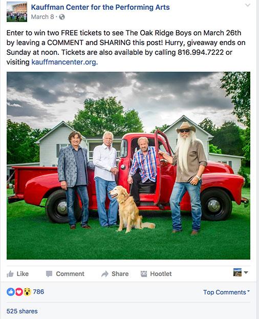 Kauffman Center Facebook post