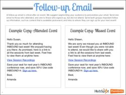 follow-up email best practice and example chart