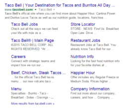 google schema markups for taco bell